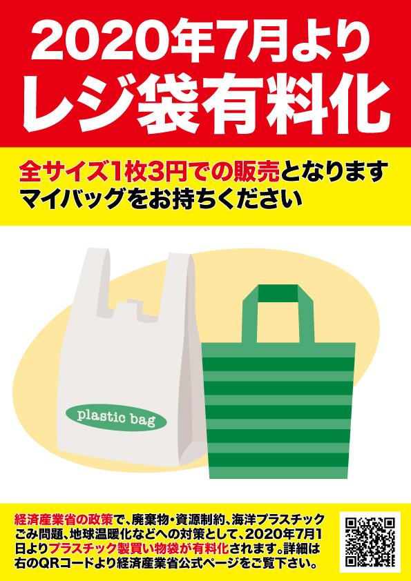 2020年7月1日より、レジ袋を有料化します(1枚3円)